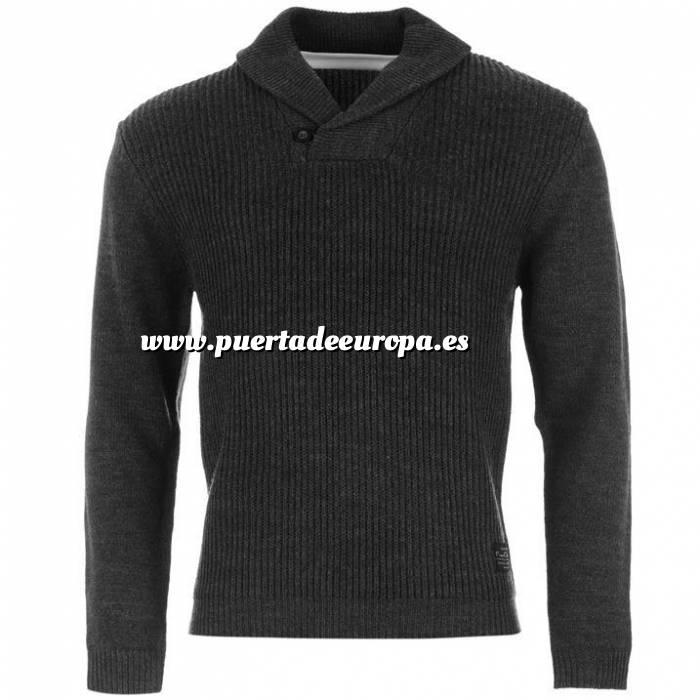 Imagen Jerseys Pierre Cardin Jersey GRIS con PICO de camiseta BLANCA - Pierre Cardin Talla XXL (Últimas Unidades)