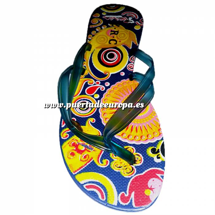 Imagen Tallas 40-42 Chancla Playa Azul Marino Colorines Talla 40 (PDE) (Últimas Unidades)