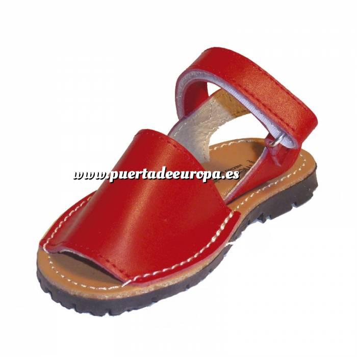 Imagen Roja Avarca - Menorquina piel niño Roja Talla 26