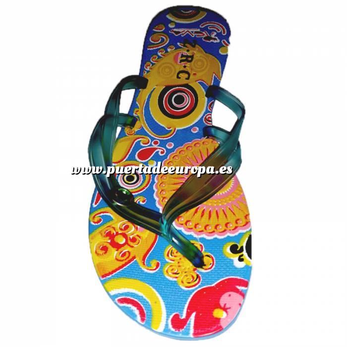 Imagen Tallas 35-39 Chancla Playa Azul Celeste Colorines Talla 37 (PDE) (Últimas Unidades)